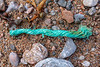 Frayed twisted rope washed up at Petit Port on Guernsey's south coast on 28th November 2019