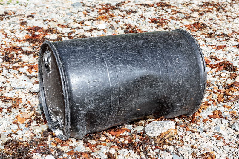 Greif 55 gallon capacity HDPE plastic drum washed up on Soldier's Bay on Guernsey's east coast