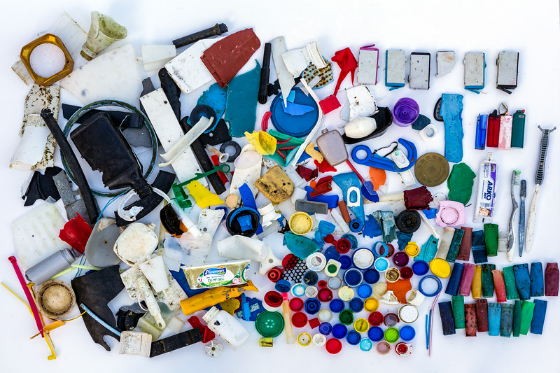 Small pieces of plastic litter collected from the sea shore at Petit Port on Guernsey's south coast on 12th January 2016