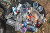 Plastic bottles collected from the sea shore at Champ Rouget, Chouet on 18 September 2010