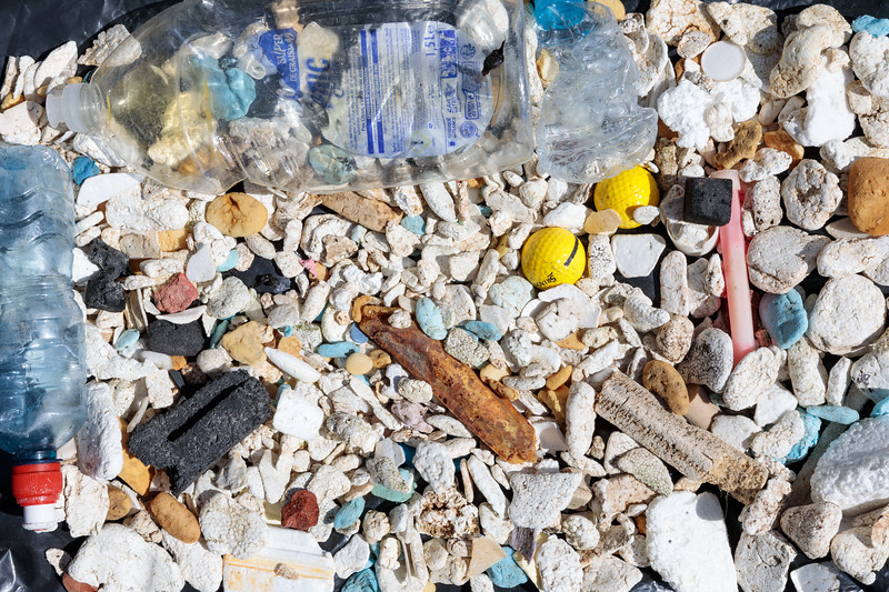 Predominately polystyrene litter from Pleinmont on Guernsey's south-west coast on 5th May 2018