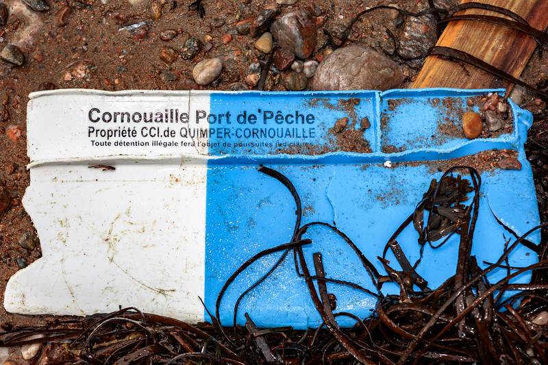 A piece of Cornouaille Port de 'Pêche fish box washed up at Petit Port on Guernsey's south coast on 26th November 2020