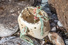 A broken whelk trap washed up on the Petit Port sea shore on Guernsey's south coast on 25th October 2020
