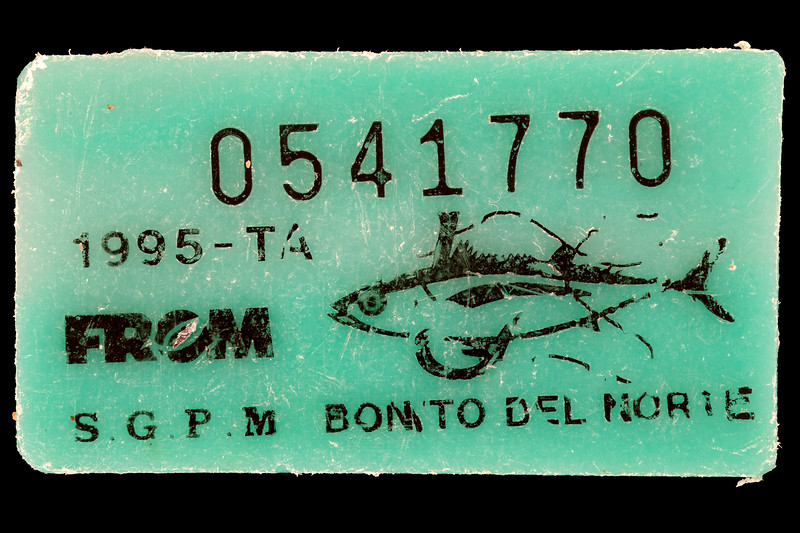 Albacore tuna tag from Spain picked up at Petit Port on Guernsey's south coast on 11th March 2020
