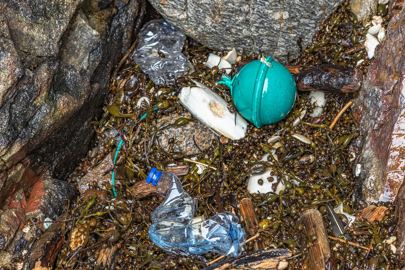 Plastic bottles and fishing float in the north eastern cave at Petit Port on Guernsey's south coast on the 30th January 2021