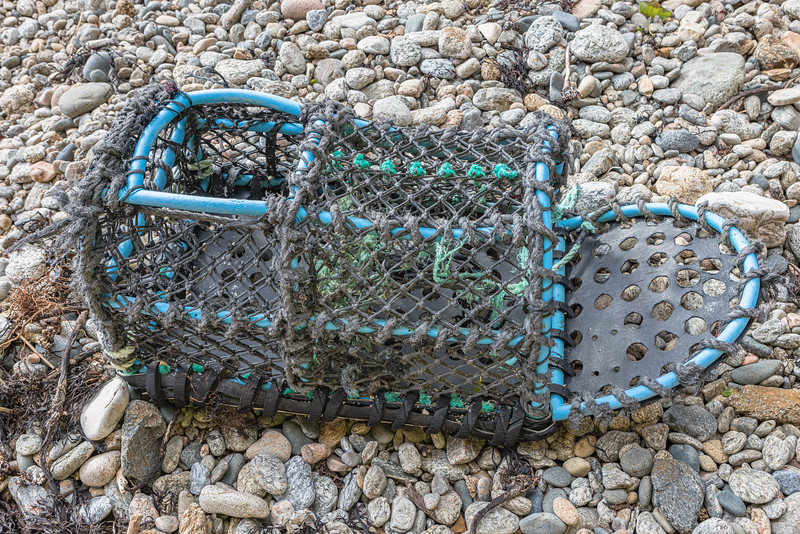 Plastic tube framed parlour pot washed up at Soldiers Bay on Guernsey's east coast