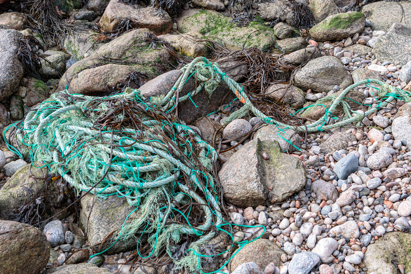 Heavy rope and twine washed up at Petit Port on Guernsey's south coast on 18th October 2019