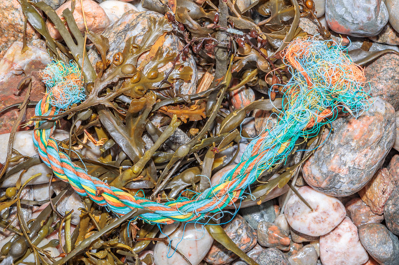 Twisted rope washed up at Petit Port on Guernsey's south coast on 28th February 2020
