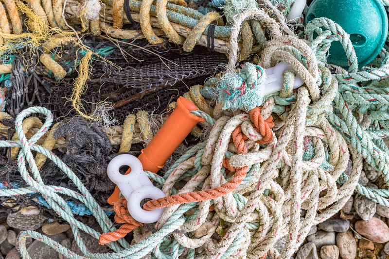A portion of the commercial fishing equipment washed up at Soldiers Bay on Guernsey's east coast
