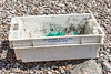 A fish box from Belgium washed up at Petit Port on Guernsey's south coast and photographed on 7th May 2020