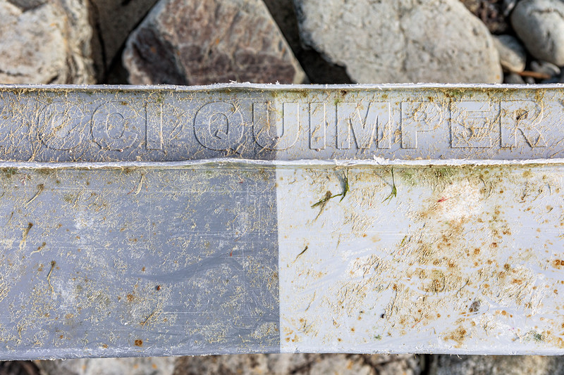 Fish box from CCI Quimper, France washed up at Pleinmont on Guernsey's south west coast on 9th October 2020