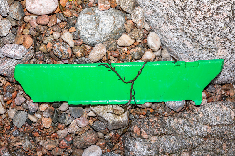 A broken piece of fish box washed up at Petit Port on Guernsey's south coast on 28th February 2020
