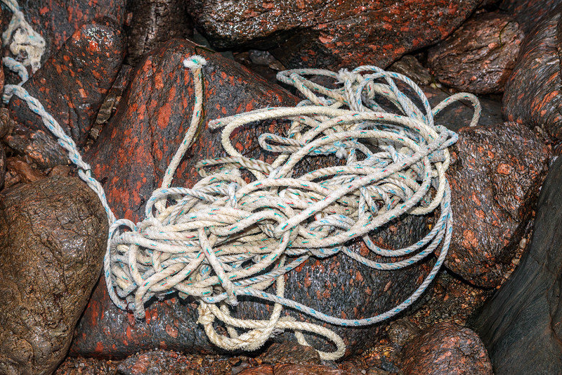 A bundle of fishing rope washed up at Petit Port on Guernsey's south coast on 15th February 2020