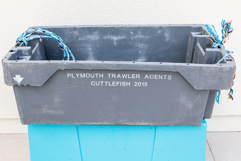 Plymouth Trawler Agents fish box washed up on the Guernsey sea shore