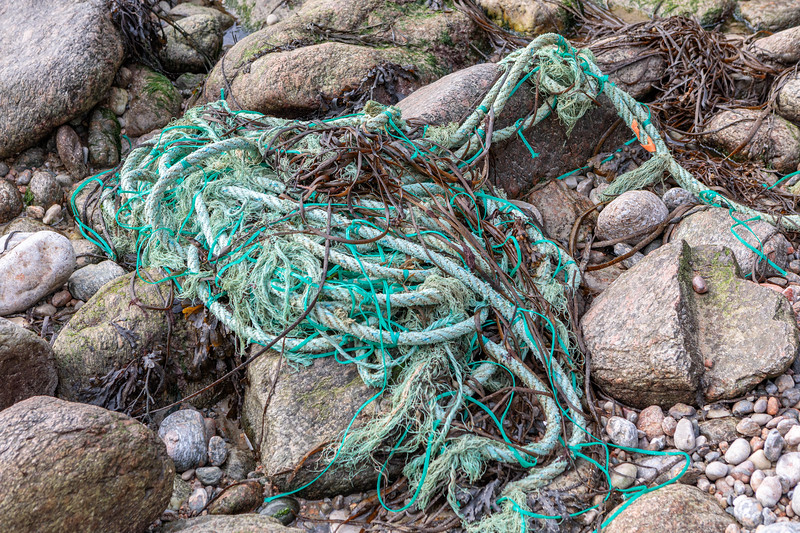Large, heavy fishing rope with fishing twine washed up at Petit Port on Guernsey's south coast on 18th October 2019
