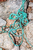 Twisted fraying rope washed up at Petit Port on Guernsey's south coast on 4th March 2020