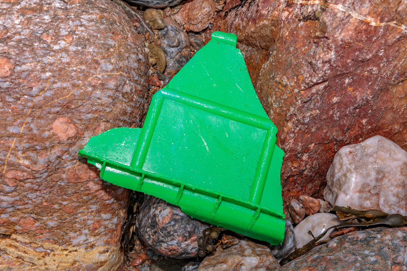 A broken piece of fish box washed up at Petit Port on Guernsey's south coast on 15th February 2020