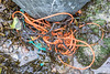 Braided polypropylene twine on the boulder band at Petit Port on Guernsey's south coast on the 28th January 2021