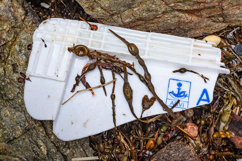 A broken piece of fish box from Cooperativa de Armadores de Pesca del Puerto de Vigo at Petit Port on 15th February 2020