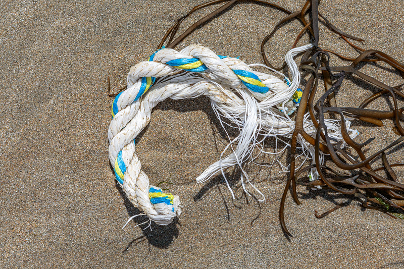 short length of cut, twisted rope washed up at Petit Port on Guernsey's south coast on 7th May 2020