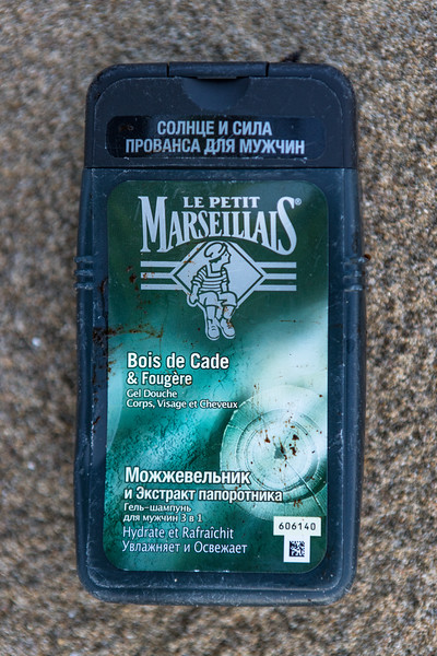 Le Petit Marseillais shower gel plastic container washed up at Baie des Pecqueries on the 23rd January 2021