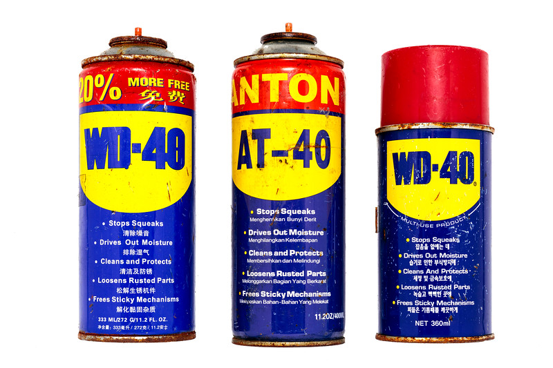 These three WD-40 cans washed up on the Guernsey sea shore