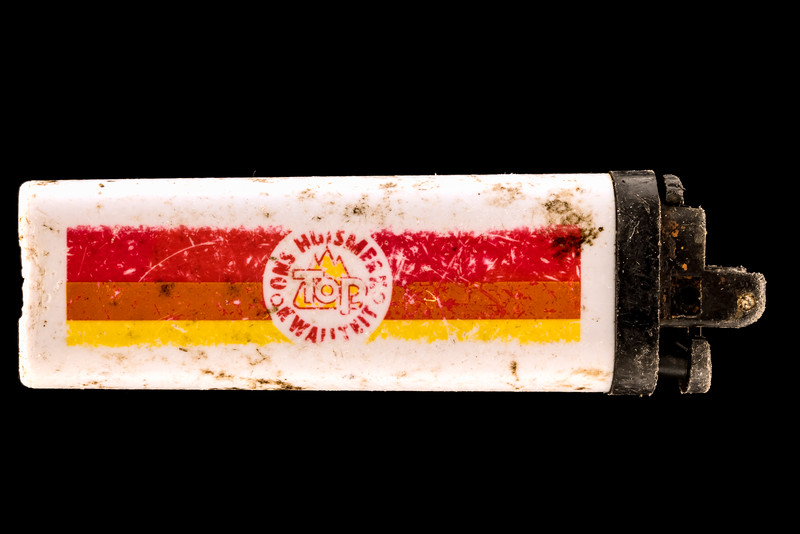 Ons Huismerk lighter collected from Baie des Pêqueries on Guernsey's west coast on the 8th December 2020