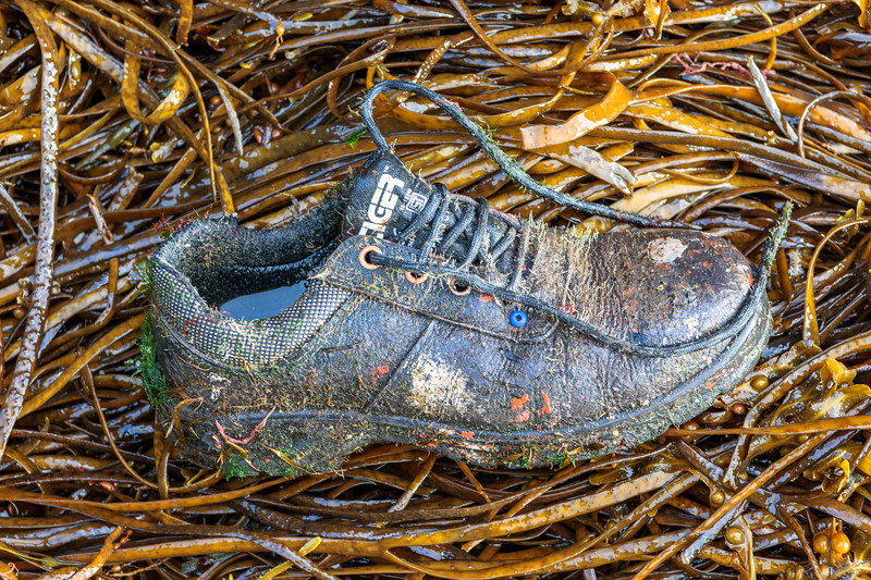 Work shoe washed up at Petit Port on Guernsey's south coast on 27th September 2019