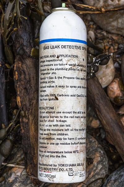 B tester spray can for gas leak detection washed up at Petit Port on Guernsey's south coast on the 28th January 2021