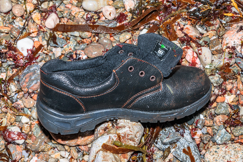 Safe Worker safety footwear washed up at Petit Port on Guernsey's south coast on 4th March 2020