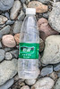 C'est Bon plastic water bottle from China on the Pleinmont shore on Guernsey's south west coast on 9th October 2020