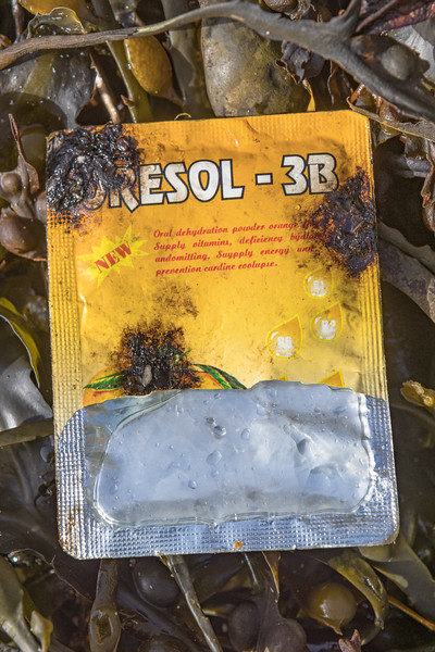 Packet of Oresol 3B rehydration supplement washed up at Petit Port on Guernsey's south coast on 16th February 2021