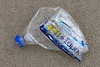 Plastic water bottle of Greek origin washed up at Petit Port on Guernsey's south coast on 10th March 2021