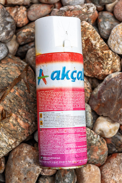 Akçalı metal spray can made in Italy with Russian and Turkish text washed up at Petit Port on 4th October 2020