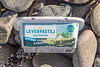 Swedish liver pate plastic container on a west facing beach south of Fort Le Marchant on the 24th September 2021