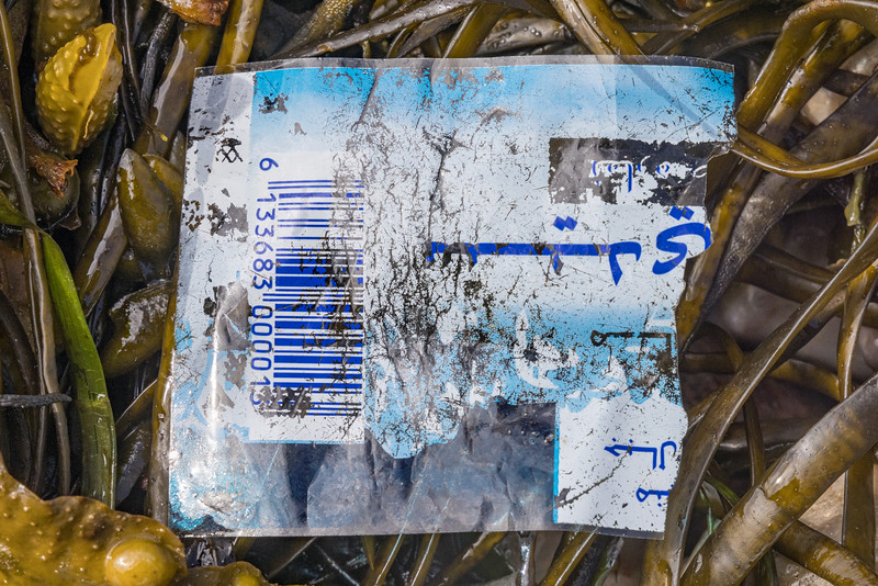 Plastic bottle label with Arabic writing at Petit Port on Guernsey's south coast on the 24th May 2021