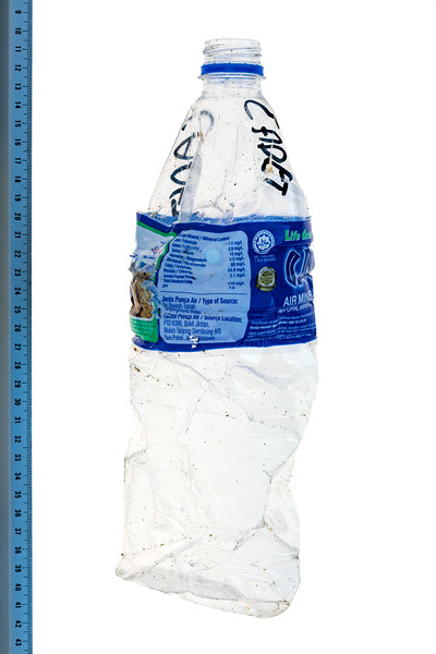Malaysian plastic water bottle collected from the Guernsey seashore