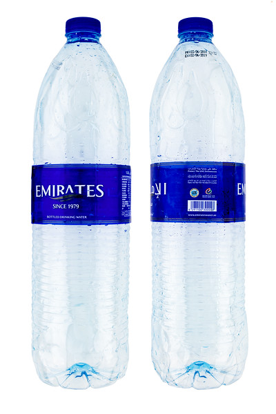 Emirates Natural Drinking water plastic bottle washed up on the Guernsey sea shore