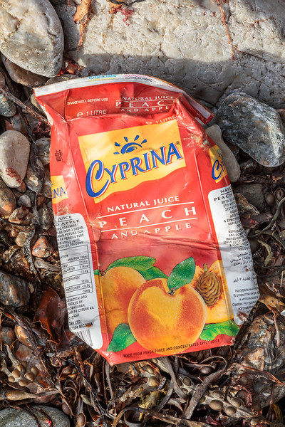 Peach and Apple juice carton from Cyprus washed up at Petit Port on Guernsey's south coast on 25th October 2019