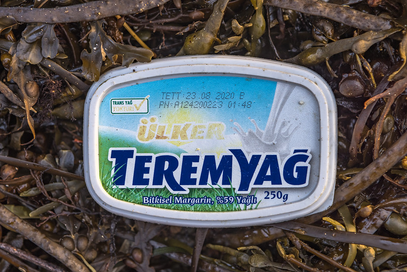 Teremyağ margarine plastic lid washed up at Petit Port on Guernsey's south coast on 15th December 2020