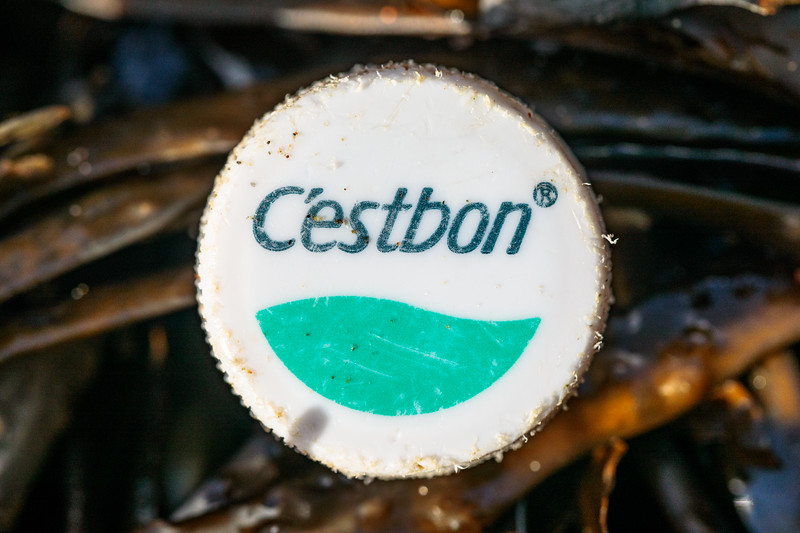 C'estbon plastic bottle top washed up at Petit Port on Guernsey's south coast on 2nd November 2020