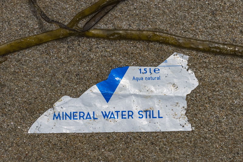 Sun D'Or water bottle label from the Netherlands washed up at Petit Port on Guernsey's south coast on the 26th May 2021