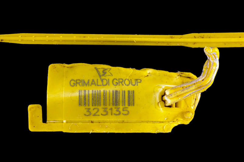 Grimaldi Group shipping line tag collected at Petit Port on Guernsey's south coast on the 25th March 2021