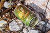 Unopened aluminium can of 7Up washed up at Petit Port on Guernsey's south coast on 26th September 2019