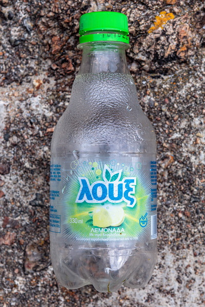 Greek lemon drink bottle collected from Petit Port on Guernsey's south coast on 1st July 2020