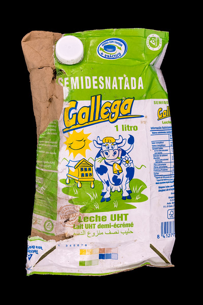Gallega UHT milk carton of Spanish origin collected by Wayne Branquet from L'Eree beach on Guernsey's west coast