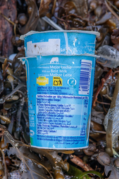 Pascual yoghurt container washed up at Petit Port on Guernsey's south coast on 17th February 2020