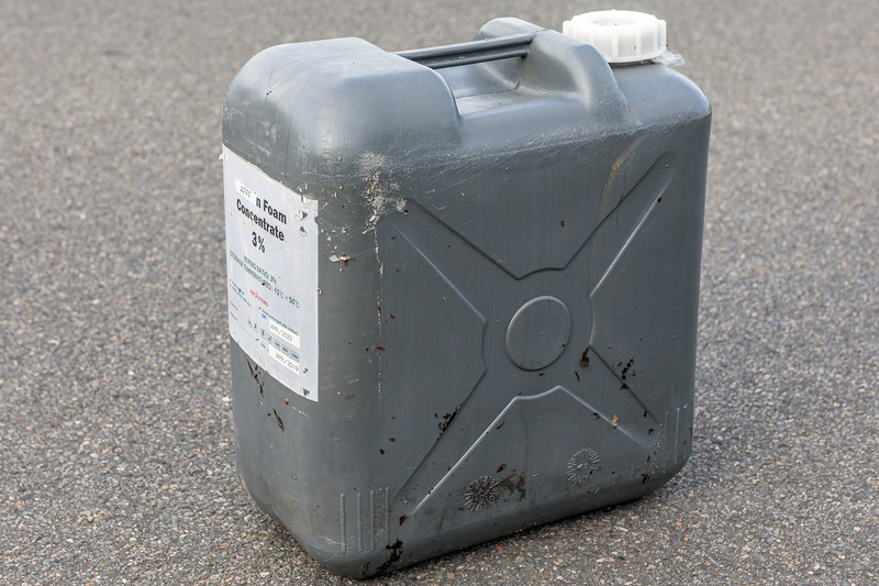 20 litre jerry can of AFFF (firefighting foam) found by Wayne Branquet washed up at L'Eree on Guernsey's west coast