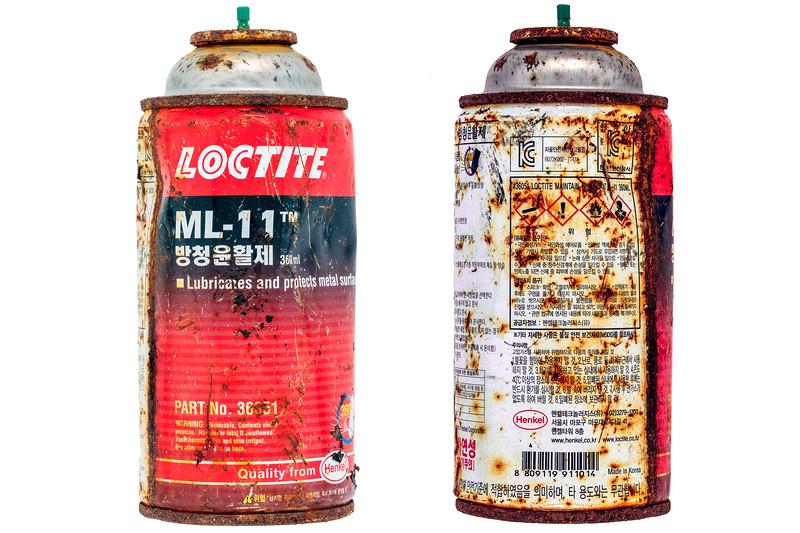 Loctite ML-11 metal spray can of Korean origin collected from the Guernsey sea shore