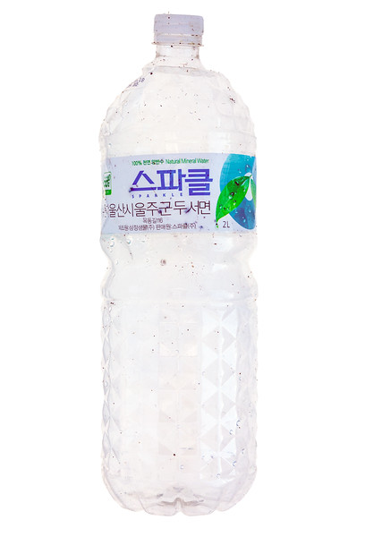 Plastic water bottle collected from Petit Port on Guernsey's south coast on 14th January 2018